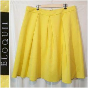 Eloquii Yellow Pleated Skirt